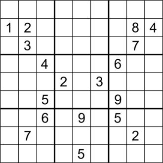 Sudoku solving algorithms - Image: Sudoku Puzzle (18 clue R828 S09)