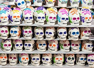 Calavera - Sugar skulls offered for sale in Mexico