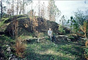 Alfred Sorensen - The remains of Sunyata's cave, near Crank's Ridge in 1999