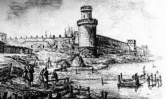 Kolomna Kremlin - Sviblova Tower and a view of the Kolomna Kremnlin. Picture by M. Kazakov (1778).