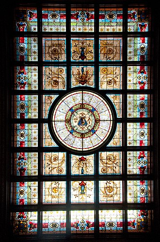 Parliament House, Sydney - Stained glass ceiling in the Jubilee Room (formerly the main reading room of the Parliamentary Library)