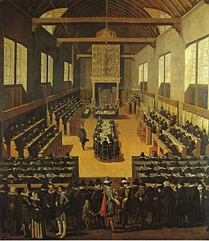 Synod of Dort - The Synod of Dort. The Arminians are seated at the table in the middle.