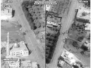 National Reconnaissance Office - US Satellite imagery of Syrian tanks departing Da'el in Daraa province after several days of assaults against the town in April 2012.