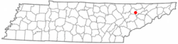Location of Luttrell, Tennessee