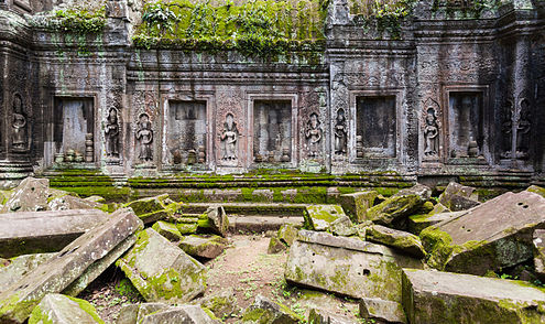 Interior of the Ta Phrom temple in Angkor, Cambodia.