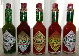 Tabasco sauce - A few of the varieties of Tabasco sauce, with the original on the far right.