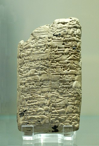 Clay tablet - List of the victories of Rimush, king of Akkad, upon Abalgamash, king of Marhashi, and upon Elamitemonumental inscription, ca. 2270 BC. (see Obelisk)