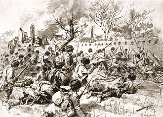 Russian soldiers in combat against Japanese at Mukden (inside China), during the Russo-Japanese War (1904-1905) TaburinBattleofMukden.jpg