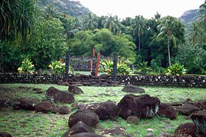 Arioi - Tahiti: worship platforms (marae) in the Arahurahu Valley