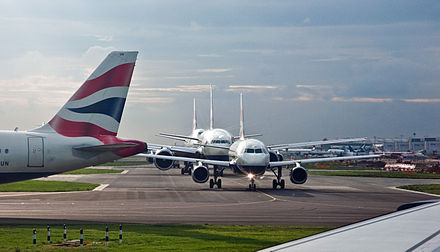 British Airways aircraft queuing for take-off Take off queue, Heathrow, 10 Sept. 2010 - Flickr - PhillipC.jpg