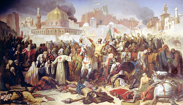 Taking of Jerusalem by the Crusaders, 15 July 1099 by Émile Signol. Oil on canvas, 1850.