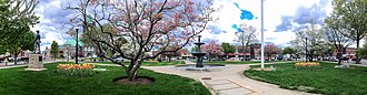 Taunton Green Historic District - Daffodils and flowering trees brighten Taunton Green (Massachusetts) on a spring day