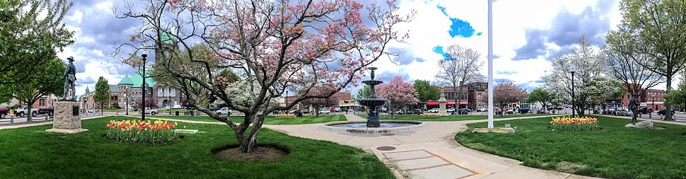 Daffodils and flowering trees brighten Taunton Green (Massachusetts) on a spring day