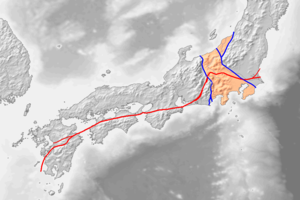 Japan Median Tectonic Line - Red line represents Median Tectonic Line. Orange shaded region is Fossa Magna, bounded by the Itoigawa-Shizuoka Tectonic Line (western blue line).