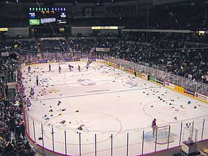 Teddy bear toss - Spokane Arena, home of the Spokane Chiefs.
