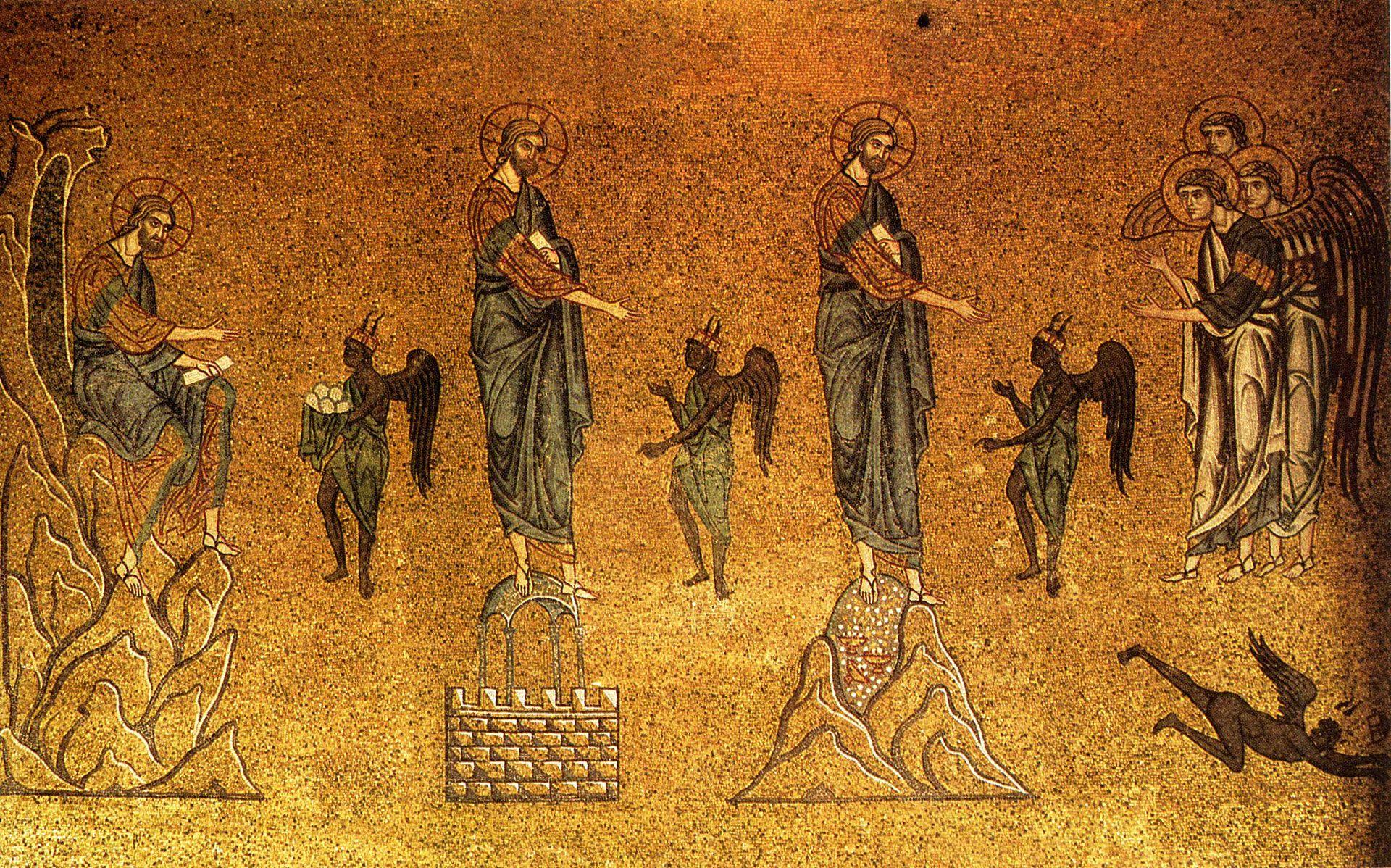 Die Versuchungen Christi, Mosaik aus dem 13. Jahrhundert im Markusdom (Venedig)