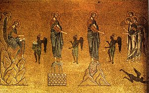 The Temptations of Christ, 12th century mosaic at St Mark's Basilica, Venice