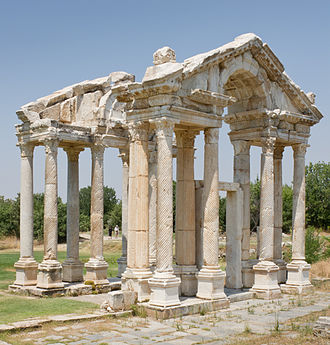 Aphrodisias - The monumental gateway or tetrapylon.