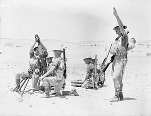 11th Indian Infantry Brigade - A 3-inch mortar crew of the 2nd Battalion, Queen's Own Cameron Highlanders training at Mena Camp near Giza, Egypt, 4 June 1940.