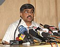 The Deputy Election Commissioner, Shri R. Balakrishnan addressing a Press Conference on the First Phase of Polling for the 15th Lok Sabha Election, in New Delhi on April 16, 2009.jpg
