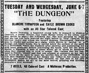 The Dungeon (1922 film) - Contemporary newspaper advertisement for the film.