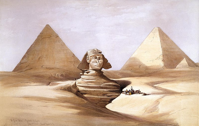 קובץ:The Great Sphinx, Pyramids of Gizeh-1839) by David Roberts, RA.jpg