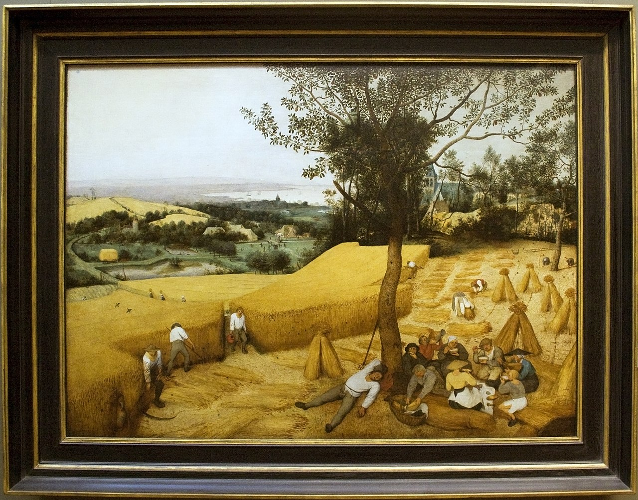 File the harvesters painting by brugel with for Framing canvas paintings