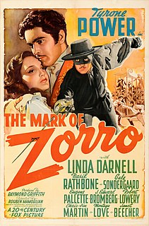 <i>The Mark of Zorro</i> (1940 film) 1940 American adventure film directed by Rouben Mamoulian