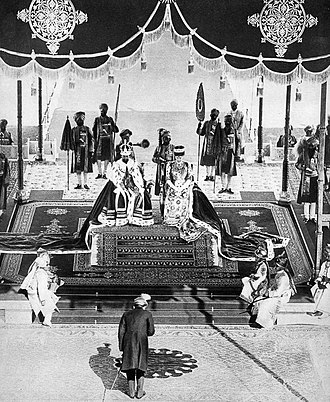 Delhi Durbar - The Nizam of Hyderabad pays homage to the Emperor and Empress at the Delhi Durbar, December 1911