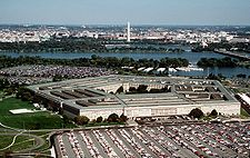 The Pentagon, looking northeast with the Potomac River and Washington Monument in the distance.