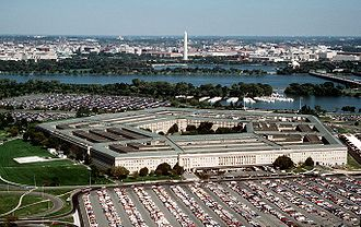 The Pentagon - Southwesterly view of the Pentagon in 1998, with the Potomac River and Washington Monument in background.