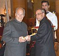 The President, Shri Pranab Mukherjee presenting the Padma Vibhushan Award to His Highness Prince Karim Aga Khan, at a Civil Investiture Ceremony, at Rashtrapati Bhavan, in New Delhi on April 08, 2015.jpg