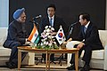 The Prime Minister, Dr. Manmohan Singh meeting with the President of Republic of Korea, Mr. Lee Myung Bak, during the G-8 Summit at Sapporo, in Japan on July 08, 2008 (1).jpg