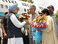 The Prime Minister, Dr Manmohan Singh being received by the Governor of Uttar Pradesh, Shri B.L Joshi, on his arrival at Chakeri Airforce Station, Kanpur on July 03, 2010.jpg