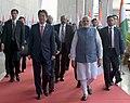 The Prime Minister, Shri Narendra Modi and the Prime Minister of Japan, Mr. Shinzo Abe arrive at the India-Japan Business Summit venue, in Mahatma Mandir, Gandhinagar, Gujarat on September 14, 2017 (1).jpg