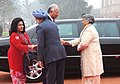 The Prime Minister of Malaysia, Dato' Sri Mohd Najib Tun Abdul Razak and his wife Datin Sri Rosmah Mansor being received by the Prime Minister, Dr. Manmohan Singh and his wife Smt. Gursharan Kaur, at a ceremonial reception.jpg