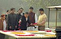 The Prime Minister of the Kingdom of Cambodia, Mr. Samdech Hun Sen paying floral tributes at the Samadhi of Mahatma Gandhi at Rajghat, in Delhi on December 08, 2007.jpg