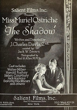 Walter Miller (actor) - Ad for The Shadow (1921) with Walter Miller and Muriel Ostriche