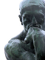 The Thinker, a statue by Auguste Rodin, is often used to represent philosophy.
