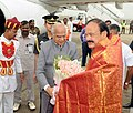 The Vice President, Shri M. Venkaiah Naidu being bid farewell by the Governor of Tamil Nadu, Shri Banwarilal Purohit, on his departure, in Chennai on March 17, 2018.jpg