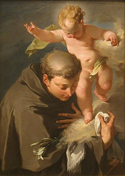 The Vision of Saint Anthony of Padua painting by Giovanni Battista Pittoni, San Diego Museum of Art.JPG