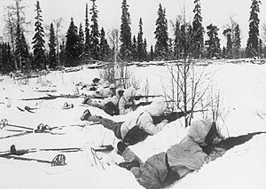 A group of soldiers with snowsuits and skies lies on the snow, guns pointing to the right.
