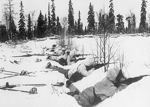 Finnish ski troops in Northern Finland January 12, 1940. The War in Finland, 1940 HU55566.jpg