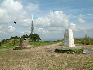 The Wrekin - The summit of the Wrekin with its trig point, toposcope (viewfinder) and radio tower.