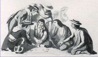 Three-card Monte - The Game of Monte in the Streets of Mexico by Claudio Linati (1828)