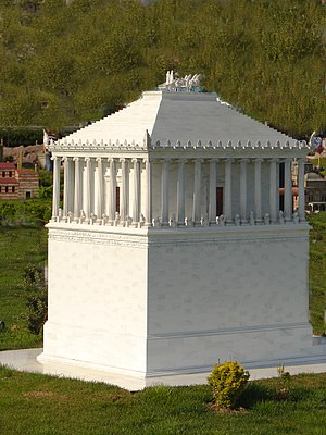 Mausoleum at Halicarnassus - Scale model of a reconstruction of the Mausoleum, one of many widely differing versions, at Miniatürk, Istanbul