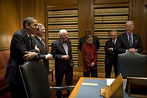 Barack Obama Supreme Court candidates -  Barack Obama and Joe Biden with Supreme Court justices in the court's conference room, on January 14, 2009, the week before the inauguration. Shown are Chief Justice Roberts and Justices Stevens, Thomas, Ginsburg, and Souter
