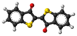 Ball-and-stick model of the thioindigo molecule
