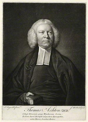 Thomas Ashton (divine) - Thomas Ashton, 1756 mezzotint by James Macardell, after Joshua Reynolds.