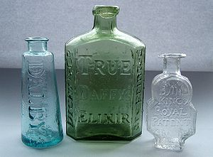 "Quackery - Dalby's Carminative, Daffy's Elixir and Turlington's Balsam of Life bottles dating to the late 18th and early 19th centuries. These ""typical"" patent or quack medicines were marketed in very different, and highly distinctive, bottles. Each brand retained the same basic appearance for more than 100 years."